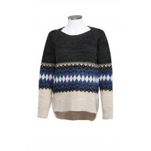 WOOL AND CASHMERE SWEATER GEOMETRIC DIAMONDS PRINT SAHAJA