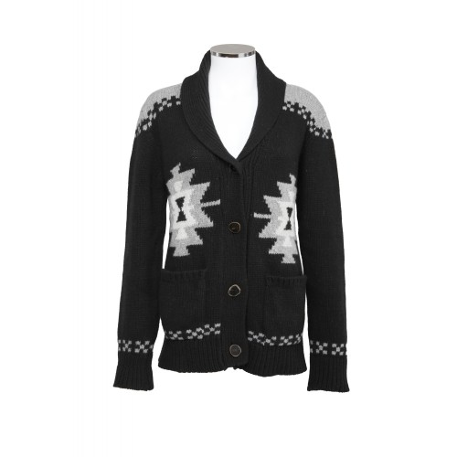 WOOL AND CASHMERE CARDIGAN GEOMETRIC PRINT BICOLOR SAHAJA