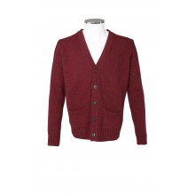 WOOL CARDIGAN 5 BUTTON CLOSURE IN BORDEAUX SOLID COLOR MC RITCHIE