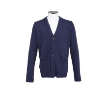 WOOL CARDIGAN WITH 5 BUTTON CLOSURE IN BLUE COLOR MC RITCHIE