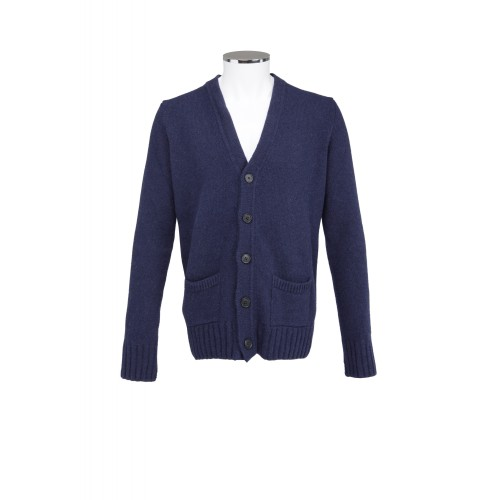 CARDIGAN IN LANA BLU MC RITCHIE