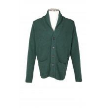 WOOL MELANGE CARDIGAN 5 BUTTON CLOSURE IN GREEN COLOR MC RITCHIE